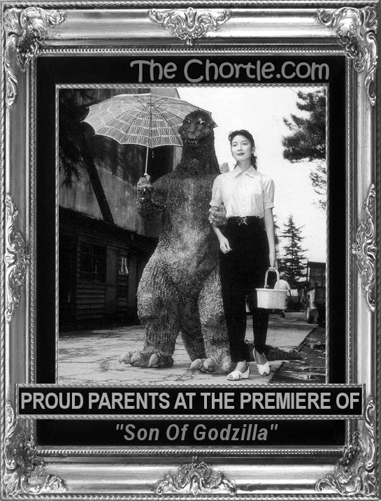 "Proud parents at the premiere of ""Son of Godzilla"""