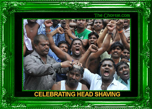 Celebrating head shaving