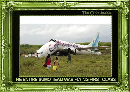 The entire sumo team was flying first class