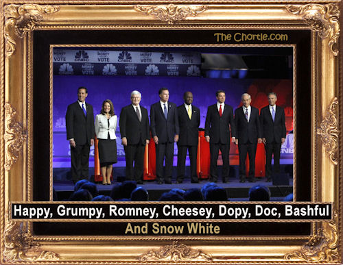 Happy, Grumpy, Romney, Cheesey, Dopy, Doc, Bashful & Snow White
