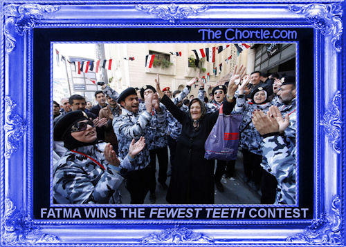"Fatma wins the ""Fewest Teeth"" contest"