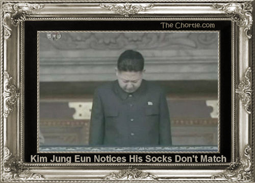 Kim Jung Eun notices his socks don't match