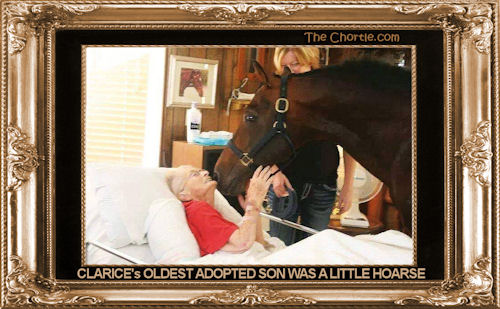 Clarice's oldest adopted son is a little hoarse