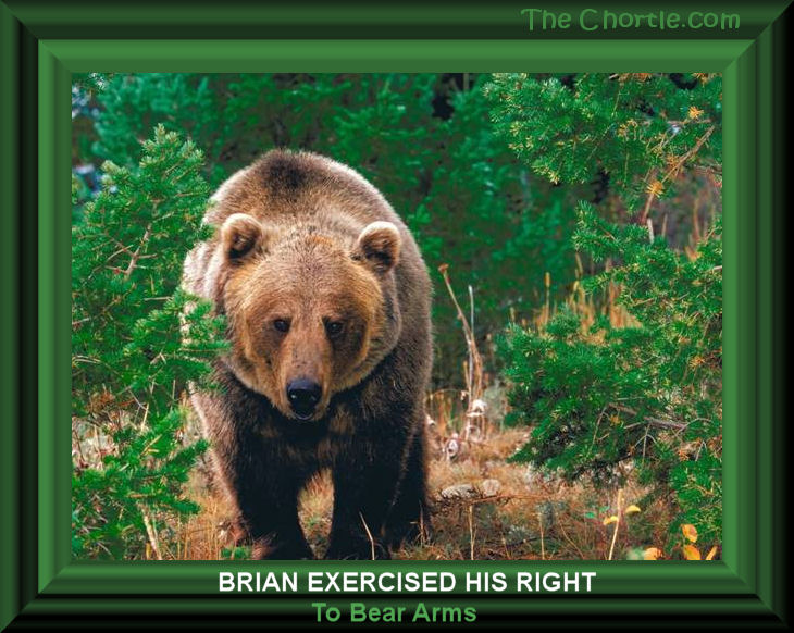 Brian exercised his right to bear arms