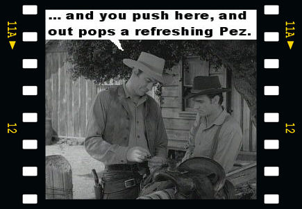 And you push here, and out pops a refreshing Pez